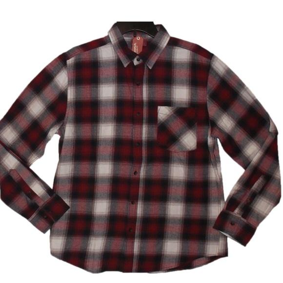 Flannel Shirt Button Up Plaid Cotton Arizona Black Red Ombre Mens Size Medium